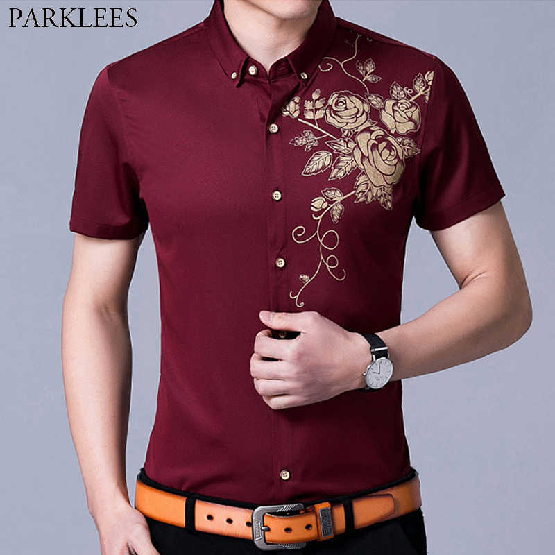 Wine Red Button Down Mens Dress Shirts 2019 Gold Rose Print Slim Fit Shirt Men Casual Short Sleeve Party Banquet Chemise Homme