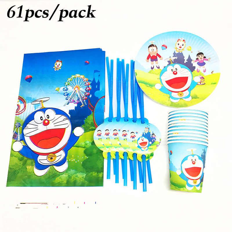 61 chiếc Doraemon dùng một lần Bộ đồ ăn Bộ Doraemon bầu tháo rời tấm ống hút chủ đề Doraemon trang trí tiệc sinh nhật