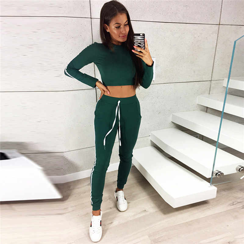 2380448aeb8 ... Tracksuit Women Two Piece Set Casual Long Sleeve Crop Tops and  Drawstring Long Pants Women Set ...