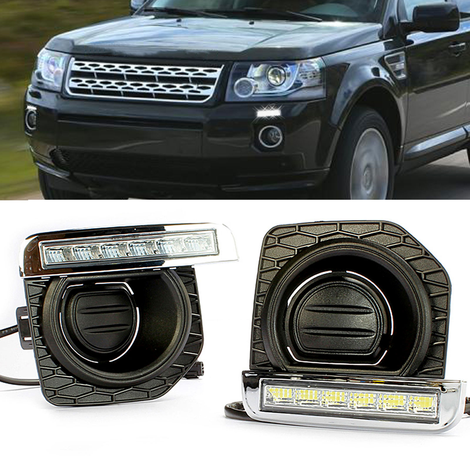 1pair LED Daytime Running Light For Land Rover RL2 DRL Fog 2011 2012 2013 2014 2015 for land rover lr4 discovery 4 trunk security shield cargo cover shade beige 2010 2011 2012 2013 2014 2015