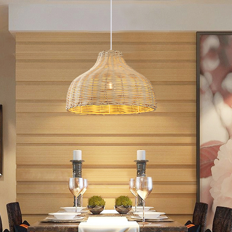 Contemporary Rattan Hanging Pendant Light Country Hand Woven Wicker Drop Home Lighting Pendant Lamp Restaurant Cafe Shop Bar Pendant Light (27)