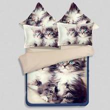 Cat Animal print 3D sistemas del Lecho sábanas tamaño Queen Completo doble colchas edredón funda nórdica cama en una hoja bolsa spread lino 3 UNIDS
