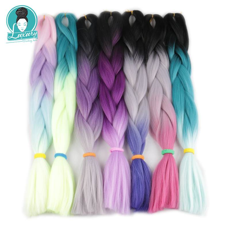 Luxury For Braiding 10pcs lot 24 Brown Blonde Grey Green Two Tone Ombre Braiding Hair Synthetic