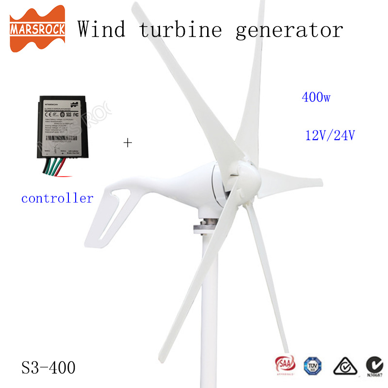 Livraison gratuite de la russie royaume-uni, 400W 12V ou 24Vdc éolienne générateur petit moulin à vent avec 0-600W contrôleur de charge comme cadeau