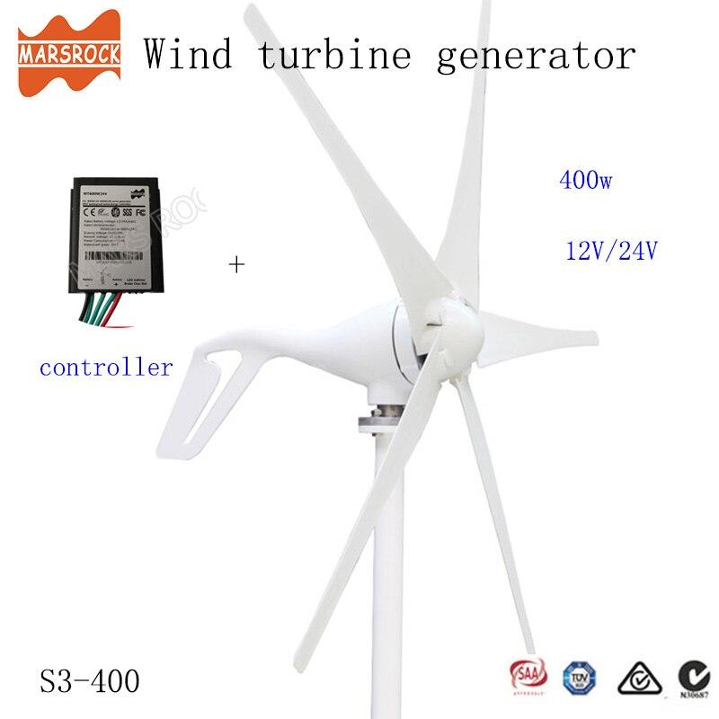 Livraison gratuite de russie espagne royaume-uni, 400W 12V ou 24Vdc éolienne générateur petit moulin à vent 0-600W contrôleur de charge comme cadeau