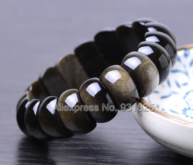 Beautiful Natural Gold Obsidian Strip Beads Gem Lucky -7664