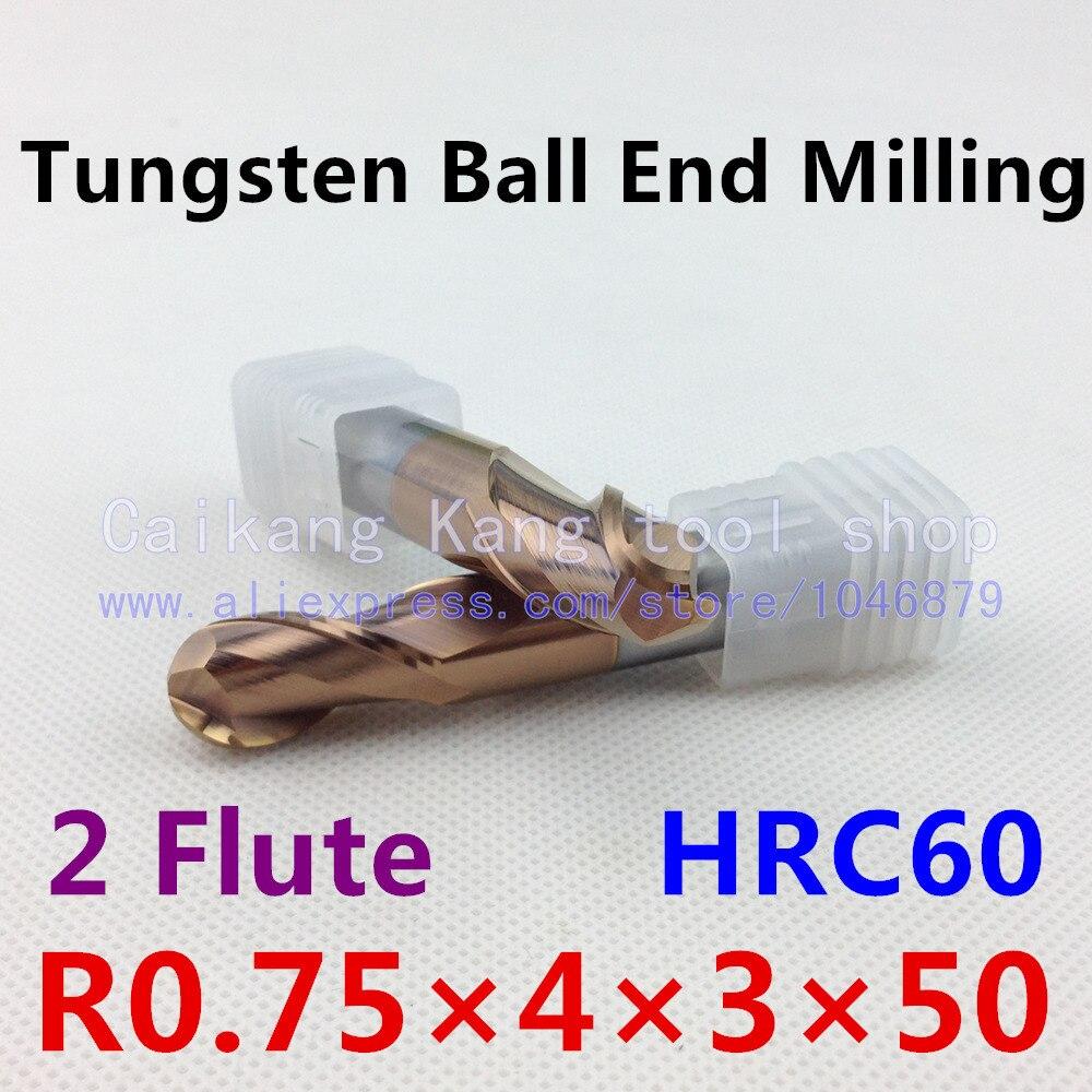 New 2 Flute Head: 1.5mm Tungsten steel cutter Carbide Ball End Mills CNC milling Highest cutting hardness: 60HRC R0.75*4*3*50mm  цены