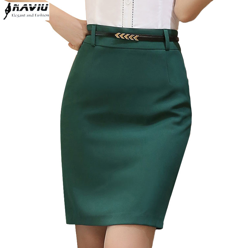 4a0d857304 Summer fashion women formal skirt OL smmer plus size slim black Green hip  short skirts office ladies work wear step skirt