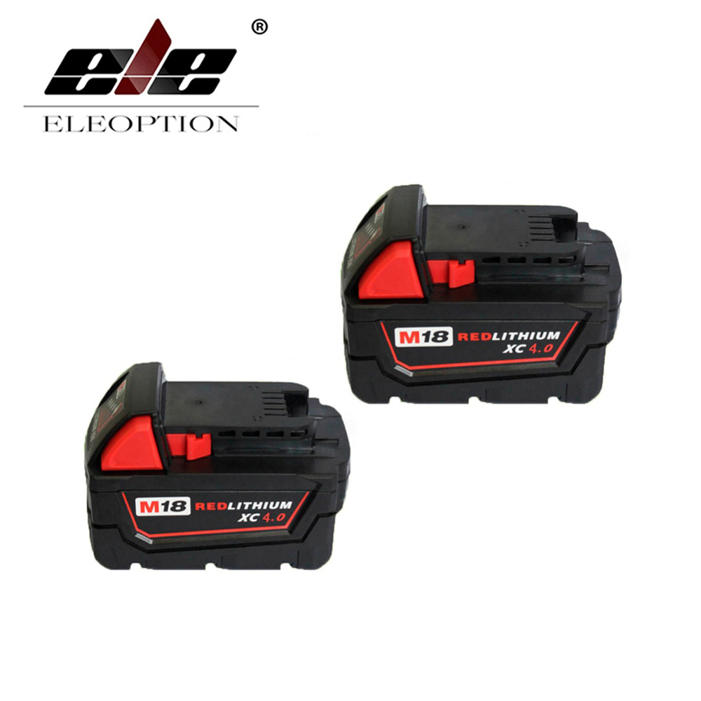 ELEOPTION 2x Hot Li-Ion 18V 4.0AH 4000mAh Replacement Power Tool Battery for Milwaukee M18 XC 48-11-1815 M18B2 M18B4 M18BX Li18 18v li ion 3000mah replacement power tool battery for milwaukee m18 xc 48 11 1815 m18b2 m18b4 m18bx li18 with power charger