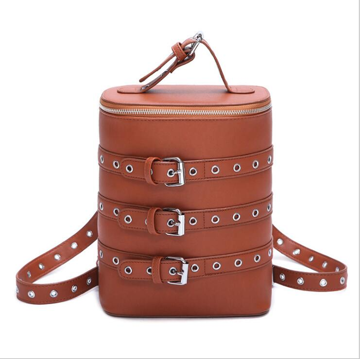 The new personalized Korean style women backpack bucket shape shoulders bag fashion belt drum student bag