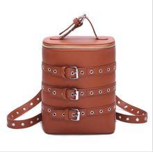 Новые персонализированные Корейский стиль женщины рюкзак ведро форма мешка плеч пояс барабан студент мешок