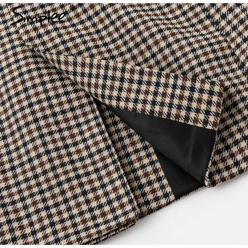 Simplee Fashion double breasted plaid blazer Female long sleeve office ladies blazer 18 Autumn jacket women outerwear coats 20