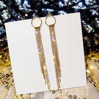LUBOV Luxus Gold Silber Farbe Metall Lange Kette Quaste Drop Ohrringe Punk Stil Frauen Baumeln Ohrringe Partei Schmuck 2019 Neue
