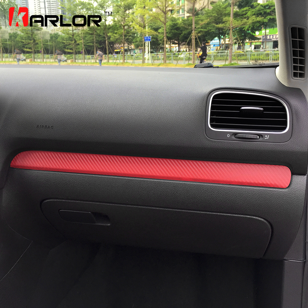 Glove Box Chrome Trim Colored Carbon Fiber Protection Film Sticker Decal Car Styling For Volkswagen VW Golf 6 MK6 Accessories-in Car Stickers from Automobiles & Motorcycles