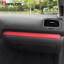 Schowek na rękawiczki chromowane wykończenie kolorowe zabezpieczenie z włókna węglowego naklejka foliowa naklejka Car Styling dla Volkswagen VW Golf 6 MK6 akcesoria