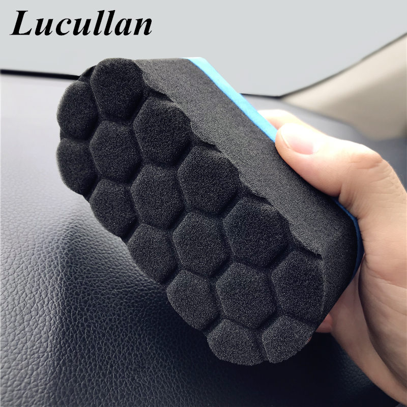 Lucullan Make Detailing Easier Grooves Waxing Foam Sponge 12CM Blue Easy Grip Ultra Soft Hex Logic Applicator Pad