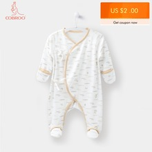 COBROO Newborn Baby Cotton Footies Pajamas with Mittens Animal Pattern Infant Coverall Sleep and Play 0-3 Months