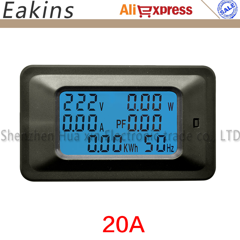 цена 6 IN 1 Multifunction Digital Backlight Power meter Ammeter voltmeter Monitor Current Voltage KWh Hz PF KW 20A 110V-250V