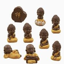 9 pc Monge Budista Estátua Estatueta Mini Ornamento Artesanato Decoração Bonsai Acessórios de casa de Bonecas Em Miniatura Decoração Do Bolo DIY