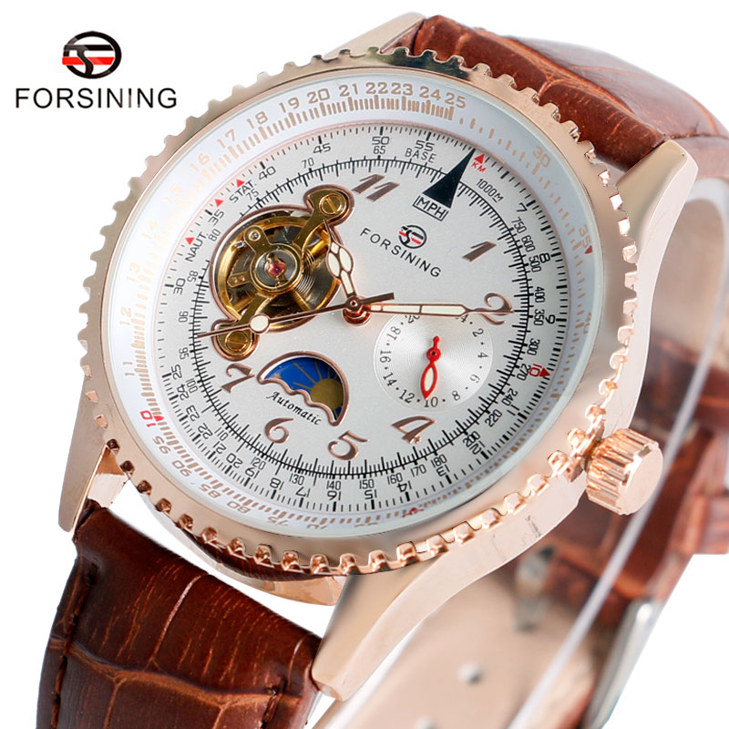 FORSINING Automatic Mechanical Watch Men Dress Tourbillon Genuinle Leather Brown Leather Band Mens Wristwatches with Gift Box men s fashion style mechanical watch tourbillon wristwatch with leather band forsining