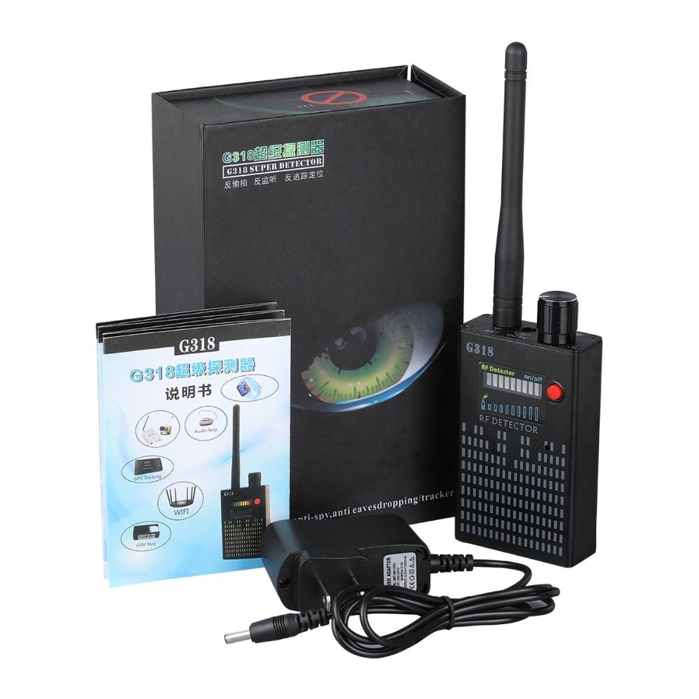 Anti-Spy Amplification Signal Detector RF Spy Bug Camera Wireless Detector Frequency Scanner Sweeper GSM CDMA GPS Tracker G318