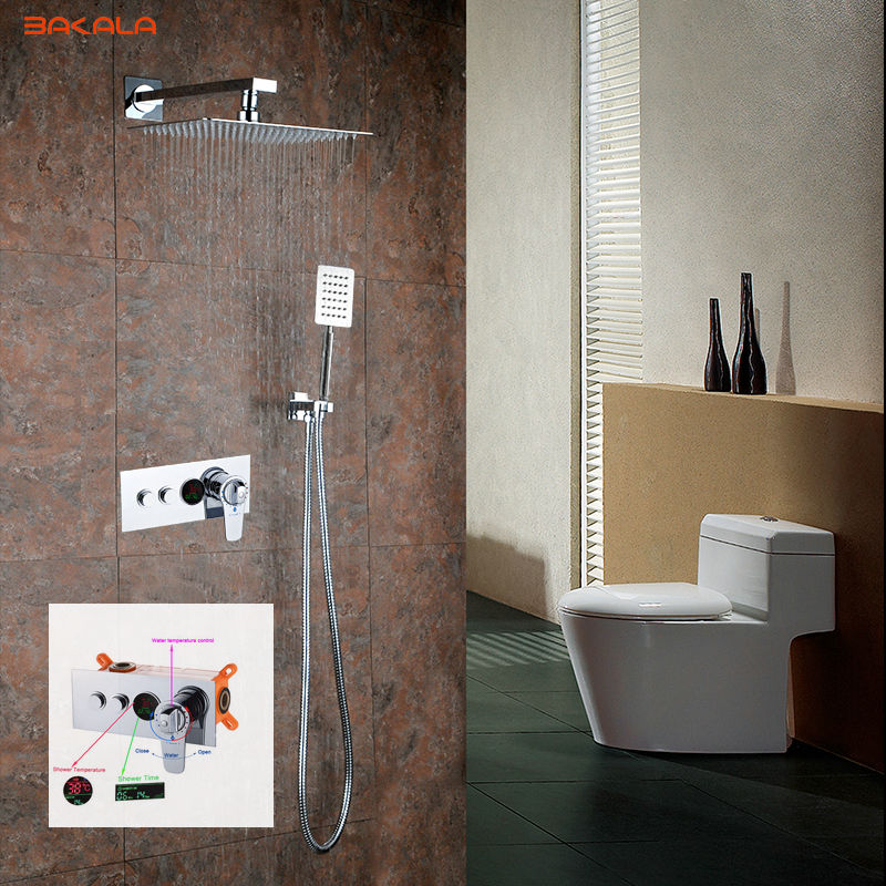 BAKALA 304 Stainless Steel 8 10 12 inch Thermostatic Rain Shower Mixer LED Digital Display Wall Mounted Rainfall Shower Set 9812 wall mounted two handle auto thermostatic control shower mixer thermostatic faucet shower taps chrome finish