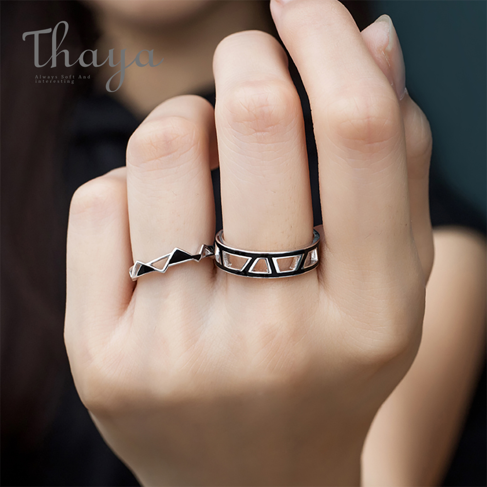 Thaya Original Edges And Corners Design Rings S925 Silver Black Angle Geometry Open Ring For Women Mysterious Style Jewelry Gift