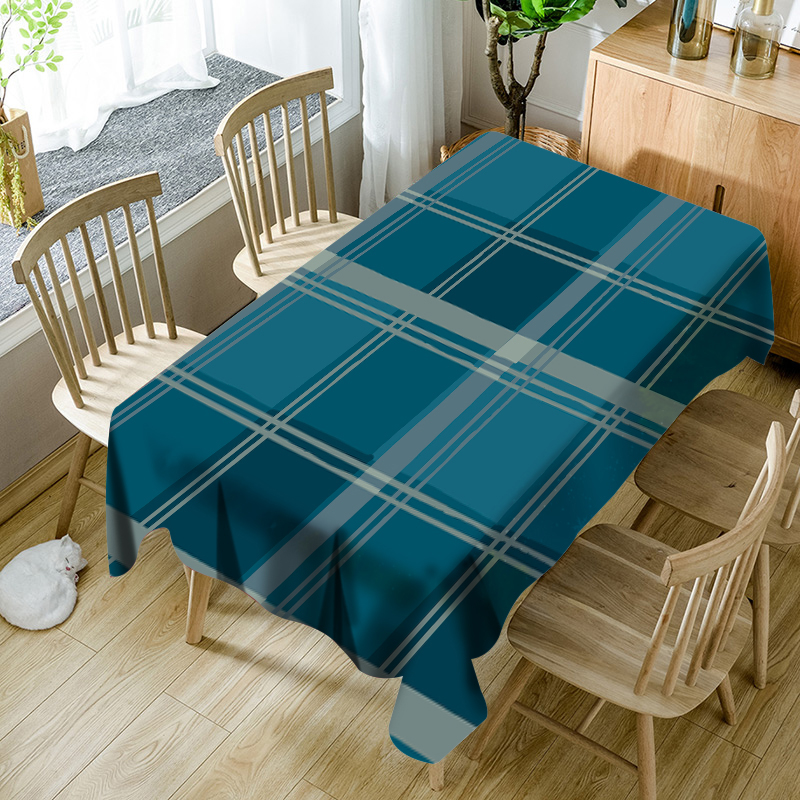 Traditional Tibetan Blue Lattice Rectangle Tablecloth Waterproof Polyester Table Cover for Living Room Hotel Restaurant Table