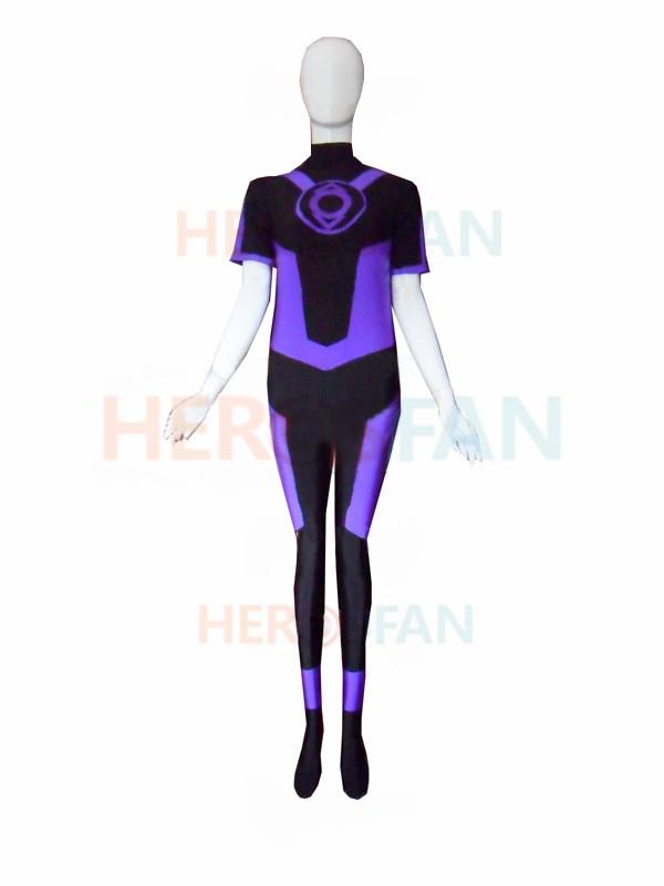 Lantern Corps Indigo Superhero spandex Female halloween cosplay costumes zentai suit free shipping