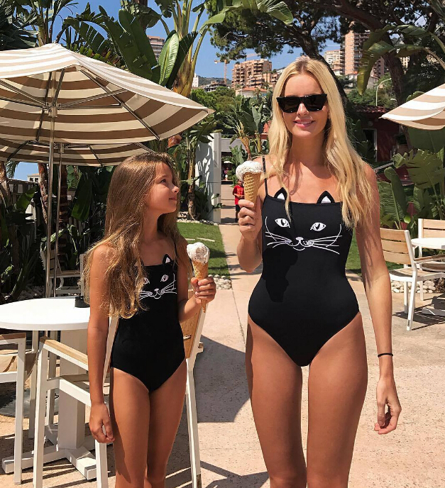 d5c4b72101cb One-Piece Suits Summer Family Matching Swimsuit Mother Daughter 3D Black Cat  Bikini