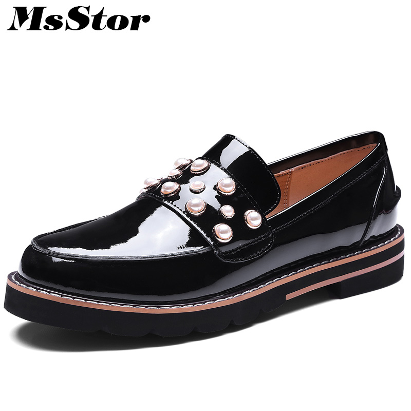 MsStor Round Toe Natural Leather Women Flats Fashion Ladies Casual Flat Shoes 2018 New Spring Mixed Colors Pearl Women Shoes фен bbk bhd1603i brown pink