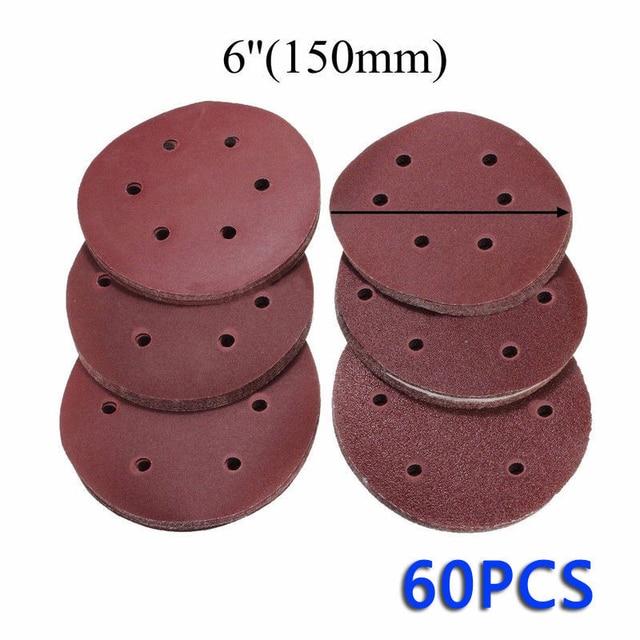 60PCS 6 inch/150mm מלטש דיסק Sandpapers 60 80 120 180 240 320 ליטוש כרית חצץ עבור ניקוי וליטוש שוחקים כלים