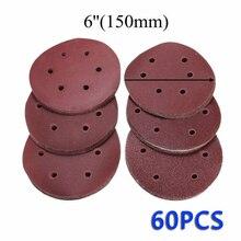 60PCS 6 pollici/150 millimetri di Levigatura Disco di Carte Abrasive 60 80 120 180 240 320 Tampone Lucidatura Grit Per la pulizia E strumenti di lucidatura abrasivo