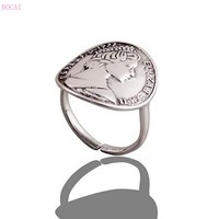 925 sterling silver jewelry retro portrait queen silver coin ring 2019 fashion new woman's silver ring