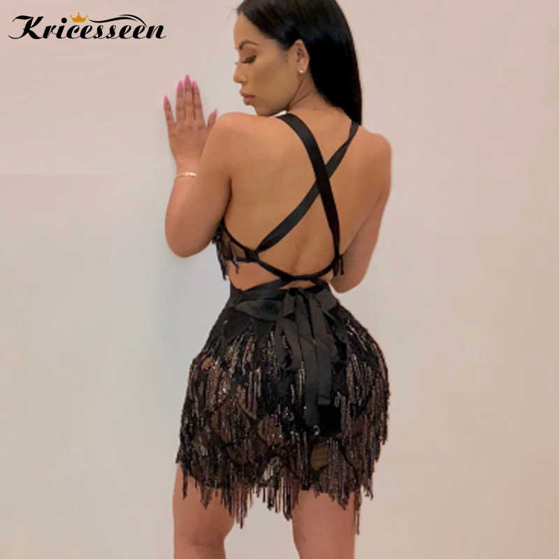 ... Kricesseen Sexy Club Party Short Tassel V Neck Dress Summer Sexy  Sleeveless Bodycon Sequined Night Dresses ... 0e4bc22bf71d