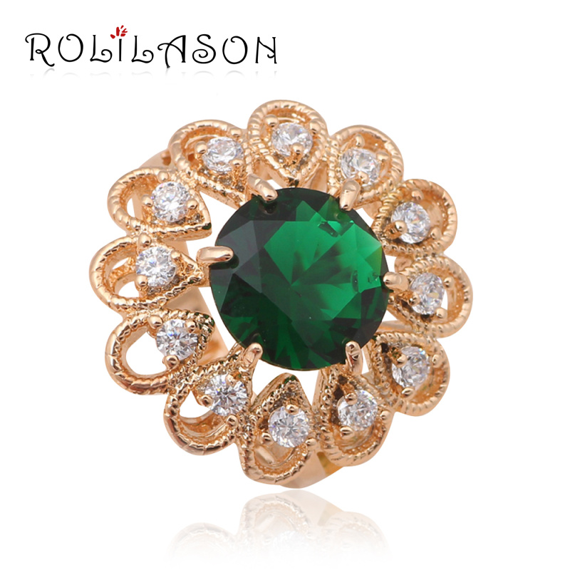 2a1efba132a8 Noble diseño de moda joyería weddding Anillos para mujeres oro tono verde  cristal Anillos ee.uu. tamaño  6  7  9  10 jr2014