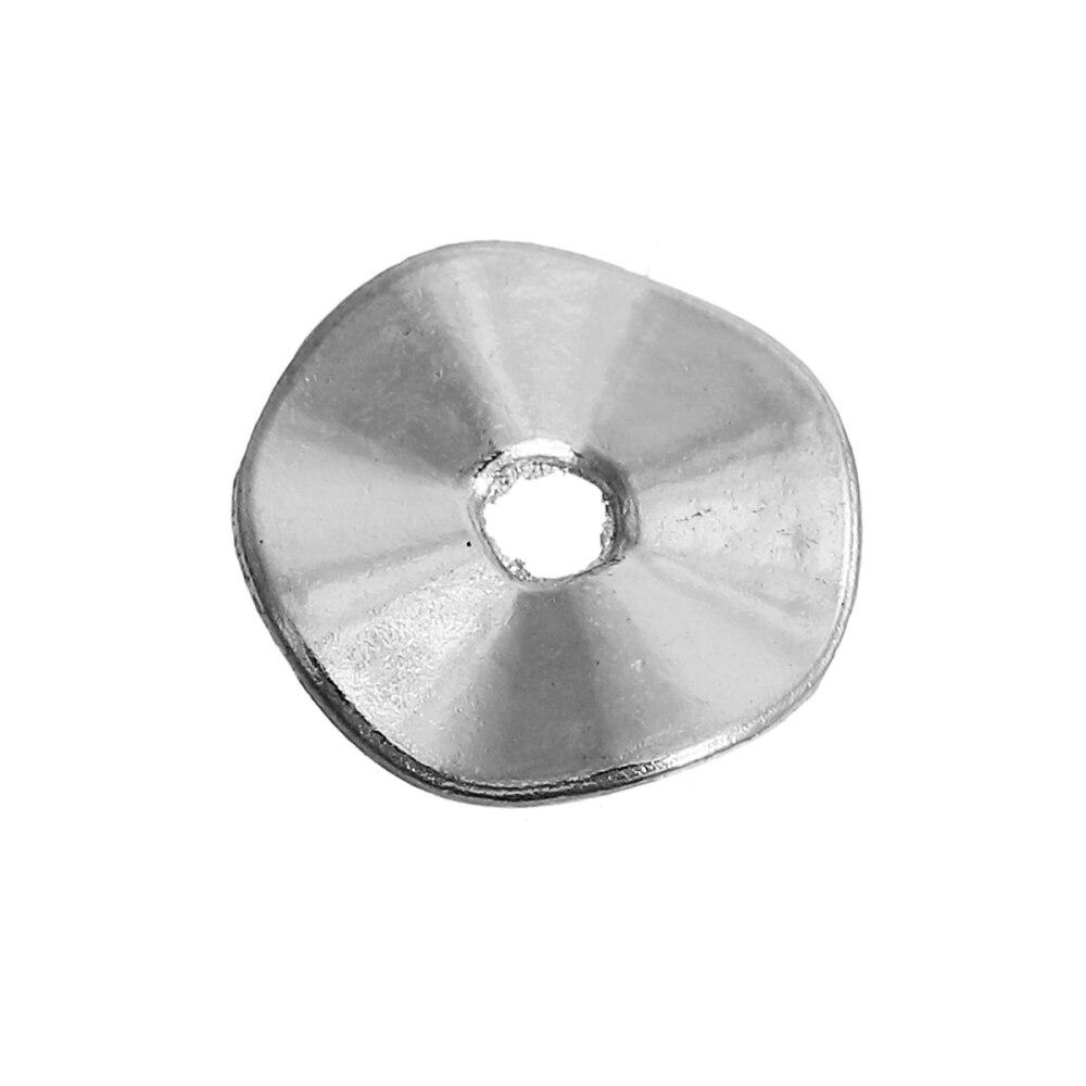 DoreenBeads Zinc Based Alloy Wavy Spacer Beads Silv