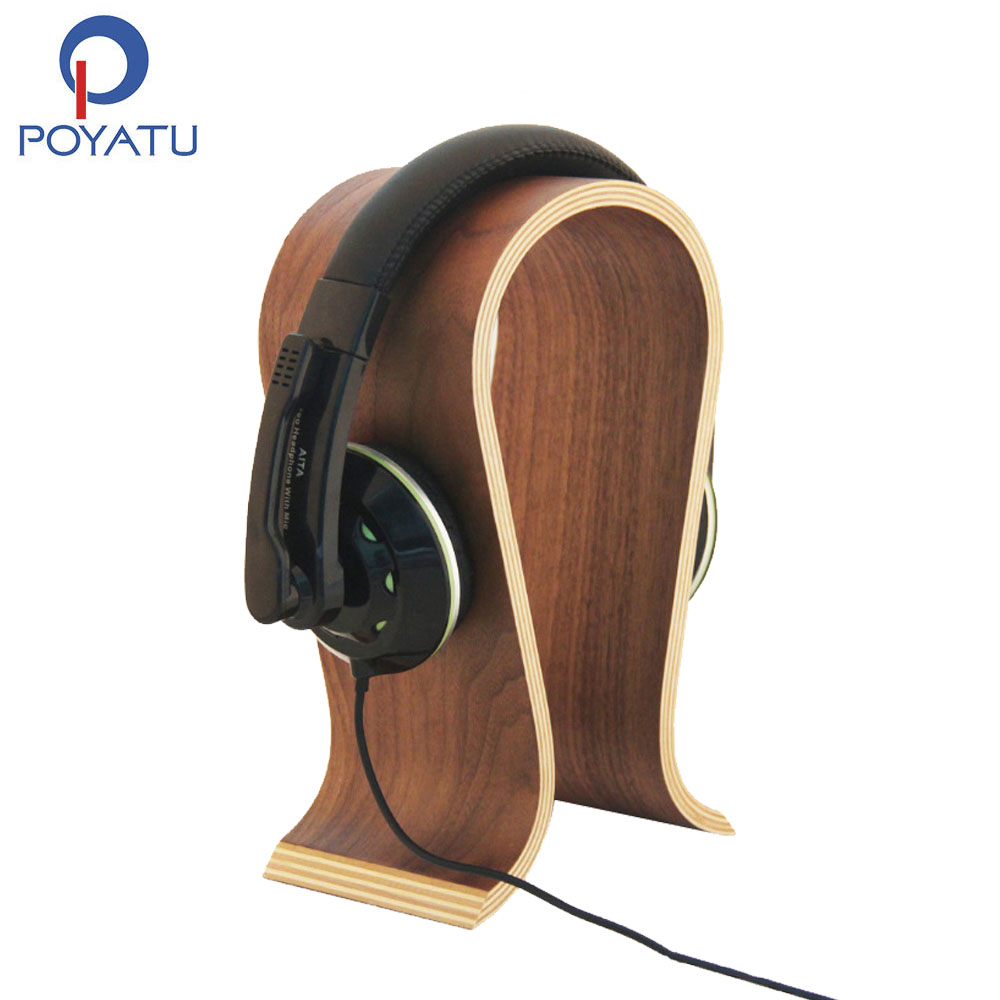 Earphone Accessories Oloey Wood Headphones Display Headphone Stand Holder Hanger Wooden Headset Bracket Desk Shelf Rack Earphone Accessories Consumer Electronics