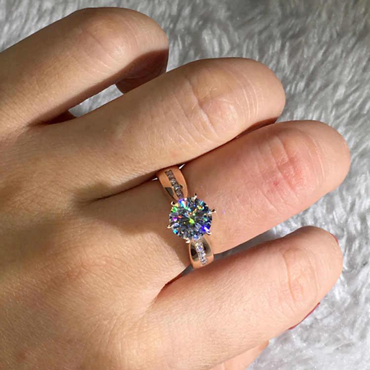 高級女性のクリスタルソリティアリングかわいいローズゴールド色結婚指輪の約束の婚約指輪