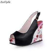 ESRFIYFE Új Wedge szandál cipő Női magas sarkú cipő Nyitott toe platform csat Buckle női nyári cipő 4colors Big Size 33-41