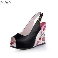 ESRFIYFE New Wedge Sandals Shoes Women High Heels Shoes Open Toe Platform Buckle Women Summer Shoes 4colors Big Size 33 41