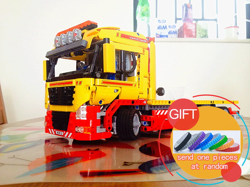 20021 1143pcs technic series Flatbed trailer Model Building blocksCompatible Toy Gift Educational Car 8109 toys lepin technican technic 2 4ghz radio remote control flatbed trailer moc building block truck model brick educational rc toy with light
