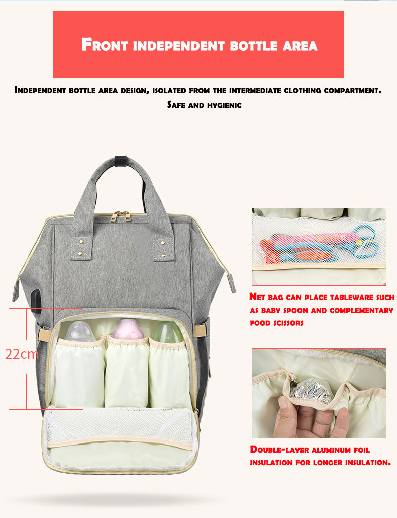 HTB1AHdyd3mH3KVjSZKzq6z2OXXaq Fashion Mummy Maternity Nappy Bag Waterproof Diaper Bag With USB Stroller Travel Backpack Multi-pocket Nursing Bag for Baby Care