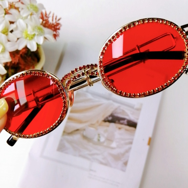 Small Oval Diamond Sunglasses Women Vintage Frame Personlity Sexy 2019 New Fashion Luxury Brand Red Tinted Color Lens Eyewear