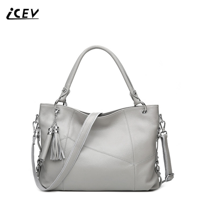 ICEV New European Fashion Simple Tassel Genuine Leather Bags Handbags Women Famous Brand Litchi Women Leather Handbags Totes Sac paste real leather handbags vintage women genuine leather handbags tassel famous designer brand bags women leather new t301