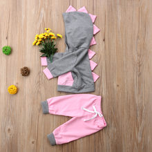 hot sale 2pcs Newborn Baby Girl clothes set 3D Dinosaur Top pocket Sweatshirt+ Long Pants Outfits casual Clothes(China)