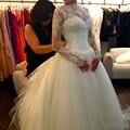 Sexy Sequins wedding dress 2016 High Neck Long Sleeves Zipper Back Cathedral Train Bride Gowns vestido de noiva