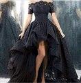Personalizado charme Black Lace Evening Vestido Hi Low Sexy Off o Ombro Boat Neck Prom Vestido de Festa Vestidos Para Festa 2016