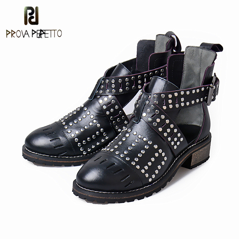 Prova Perfetto Euramerican Style Hollow Out Cross-tied Band Genuine Leather Woman Ankle Boots Retro Design Rivets Low Heel Shoes prova perfetto gladiator design cross tied peep toe hollow out low heel woman sandals elastic genuine leather lace up sandals