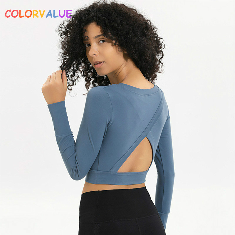 Colorvalue Back Open Workout Sport Long Sleeve Shirts Women Slim Fit O neck Yoga Fitness Crop Tops Training Gym Activewear in Yoga Shirts from Sports Entertainment